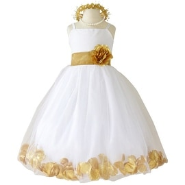 Flower Girl Dresses Rose Petal Wallao White (Baby - 14) Gold