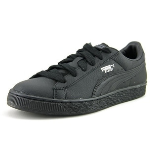 Puma Basket Classic L BTS Jr Youth Round Toe Leather Black Sneakers