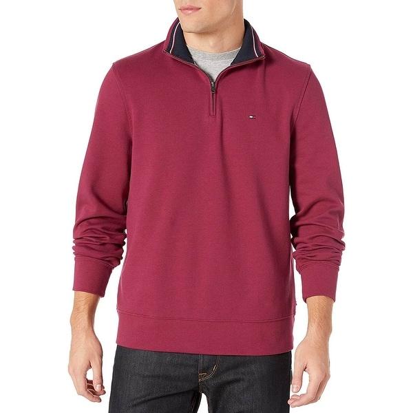 Tommy Hilfiger Mens 1/4 Zip Mockneck Sweatshirt X-Large Port Wine. Opens flyout.
