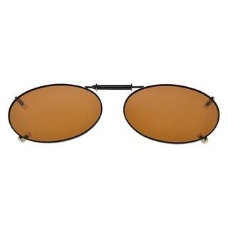 Eyekepper Metal Frame Rim Polarized Lens Clip On Sunglasses 51x33MM Brown Lens