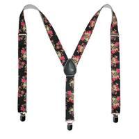 CTM® Women's Elastic Floral Print Suspenders