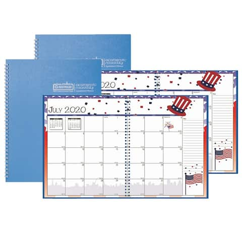 """Academic Seasonal Monthly Calendar Planner, 12 Months July-June, 7"""" x 10"""", Pack of 2 - One Size"""