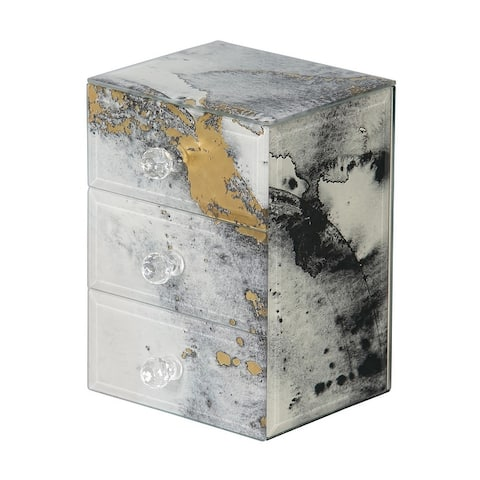 Mele & Co. Maura Marbled Glass Jewelry Box with Gold Accents