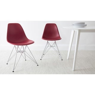 2xhome Red - Eames Style Molded Bedroom & Dining Room Side Ray Chair with Eiffel Metal Leg Base