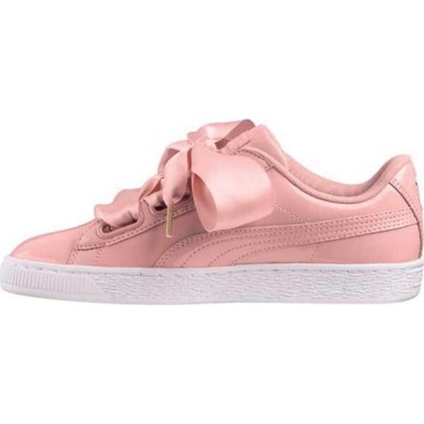 Womens PUMA Basket Heart Patent Sneaker Size 7 M Peach