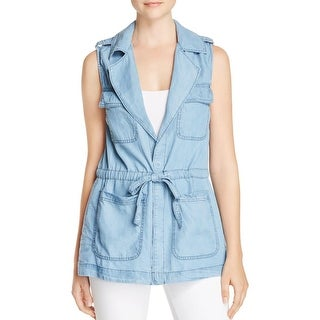 Sanctuary Womens Day Trip Casual Vest Chambray Utility