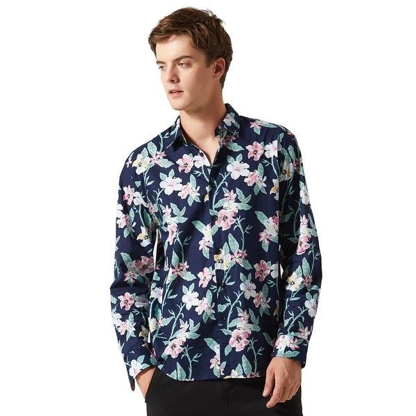 Men Hawaiian  Floral Button Down Long Sleeve Aloha Tropical Flower Printed Shirt