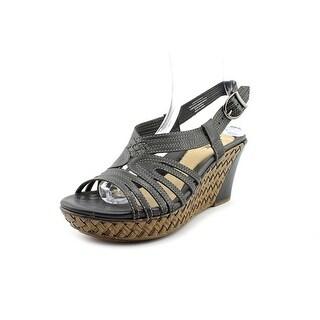 Earth Paradise Women Open Toe Leather Wedge Sandal