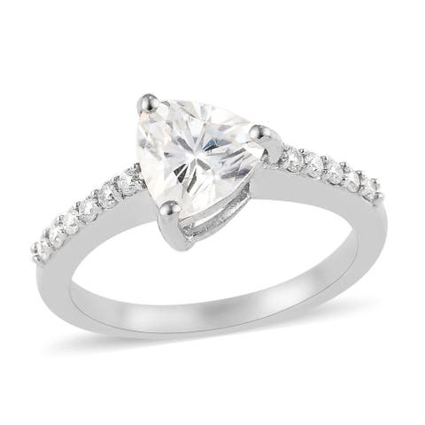 925 Sterling Silver Platinum Plated Trillion Moissanite Ring Jewelry