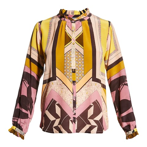 Johnny Was Womens Anabel Blouse Top Multi Color