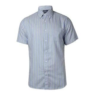 Cremieux Men's Slim Fit Woven Shadow-Striped Cotton Shirt - M