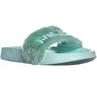 PUMA Fenty Slide Slip On Flat Slide Sandals, Bay/Puma Silver - 7.5 us / 38 eu