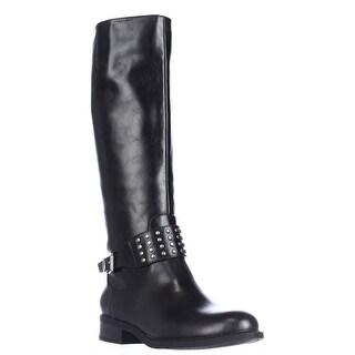 AL35 Jaycee Strap Studded Knee High Boots - Black