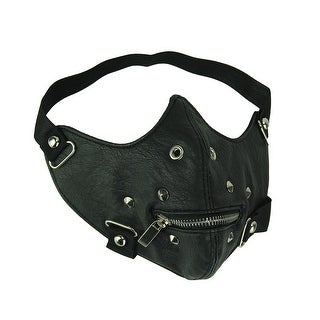 Black Vinyl Half Face Mask with Spiked Rivets and Zipper