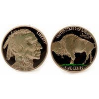 Buffalo Nickel Cufflinks Hand Painted Coin Collector Memorbilla
