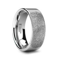 THORSTEN - Fingerprint Engraved Flat Pipe Cut Tungsten Ring Polished - 12mm