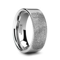 THORSTEN - Fingerprint Engraved Flat Pipe Cut Tungsten Ring Polished - 6mm