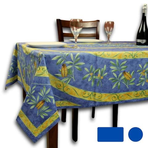 Wipeable Tablecloth Rectangle, Round Spillproof French Acrylic Coated Blue Bees