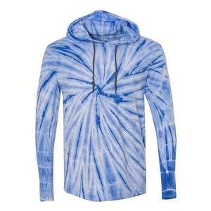 Tie-Dyed Hooded Pullover T-Shirt - Royal - M