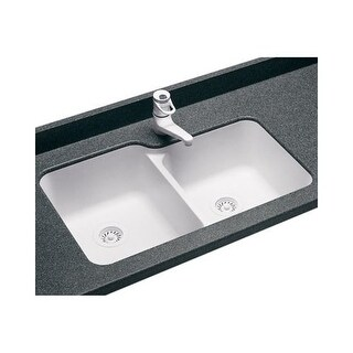 "Swanstone US-3015 Kitchen Sink Double Bowl Undermount Swanstone 33"" W x 21.25"" D"