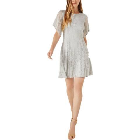 BCBG Max Azria Women's Lace Asymmetric Sleeve A-Line Mini Flare Dress - Pearl Blue