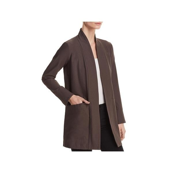 Eileen Fisher Womens Petites Kimono Open Front Stretch
