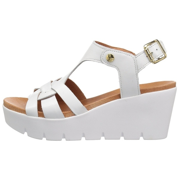 Bos. & Co. Womens Paige Leather Open Toe Casual Platform Sandals - 7.5