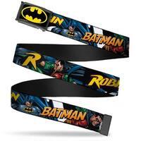 Batman Fcg Black Yellow Chrome Batman & Robin In Action W Text White Web Belt