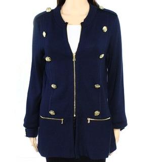INC NEW Twilight Blue Womens Size Small S Gold Hardware Military Jacket