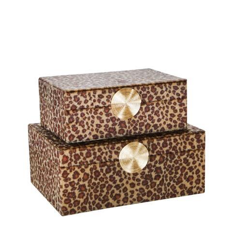 """S/2 Velveteen 8/10"""" Leopard Print Box, Brown/Gold"""