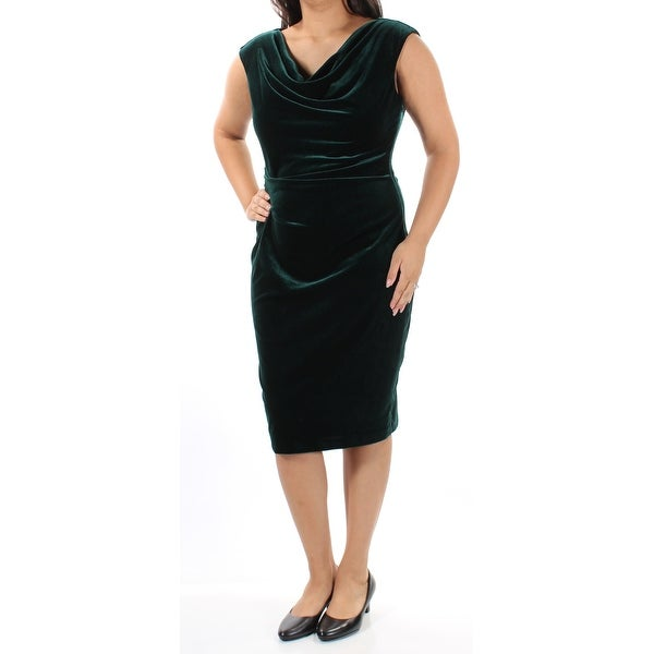 JESSICA HOWARD Womens Green Velvet Cap Sleeve Scoop Neck Knee Length Body Con Dress Size: 14
