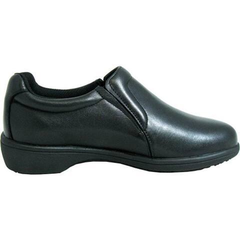 Genuine Grip Footwear Women's Slip-Resistant Slip-on Casual Black Soft Full Grain Leather