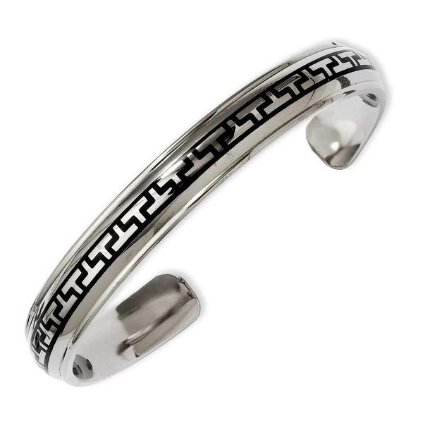 Chisel Titanium Black-plated Design Cuff Bangle