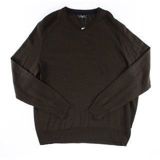 Club Room NEW Coffee Bean Brown Mens Size 2XL Pullover V-Neck Sweater