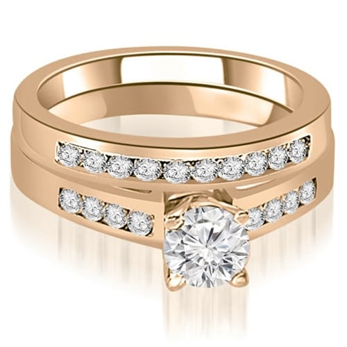 0.95 cttw. 14K Rose Gold Channel Set Round Cut Diamond Bridal Set