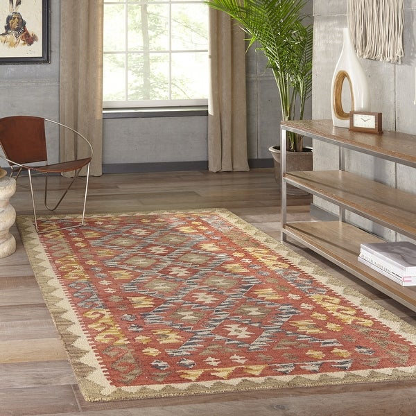 """Momeni Tangier Red Hand-Tufted Wool Rug - 7'6"""" x 9'6"""""""