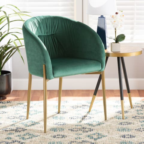 Ballard Modern Luxe and Glam Velvet and Metal Dining Chair