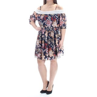 Link to BCX Womens Navy Floral Spaghetti Strap Above The Knee Dress  Size XL Similar Items in Dresses