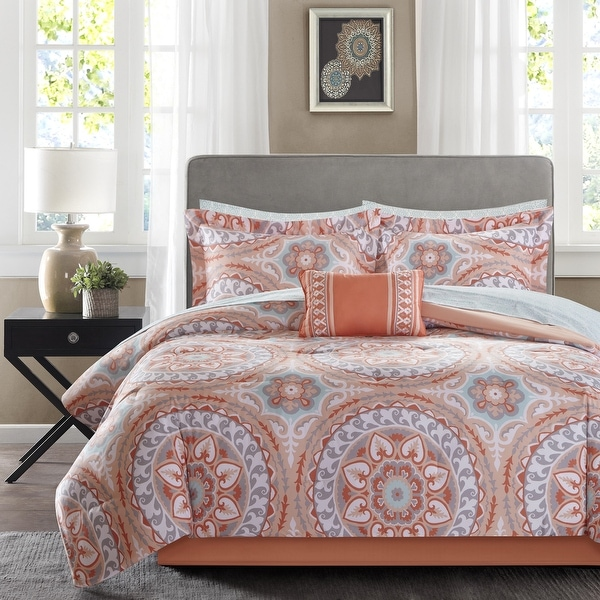The Curated Nomad La Boheme Coral Complete Comforter and Cotton Sheet Set. Opens flyout.