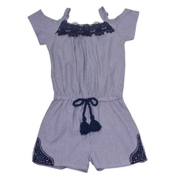 a6f8f1af111d Shop Dollhouse Little Girls Navy Lace Trim Off-Shoulder Strap Trendy Romper  - Free Shipping On Orders Over  45 - Overstock - 23078829