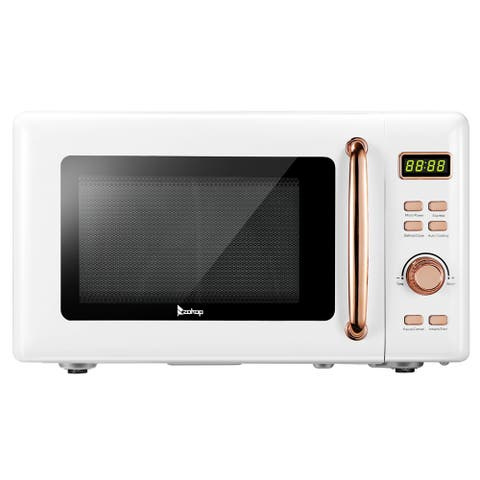 0.7-Cuft Retro Microwave with Display and Gold Handle, White/Red/Blue/Black