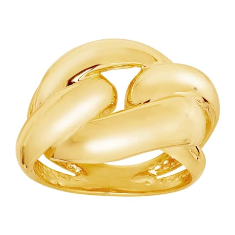 Polished Link Ring in 18K Gold-Plated Bronze - Yellow