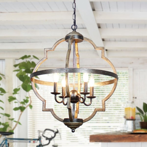 Farmhouse Antique Distressed Metal 4-Light Chandeliers - 20.9-in. Opens flyout.
