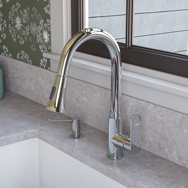 Polished Chrome Gooseneck Pull Down Kitchen Faucet. Opens flyout.