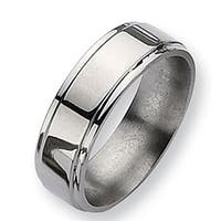 Chisel Ridged Edge Polished Titanium Ring (7.0 mm)