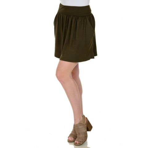 Simply Ravishing Shirred Mini Skirt w/ Pockets (Size: XS-3X)