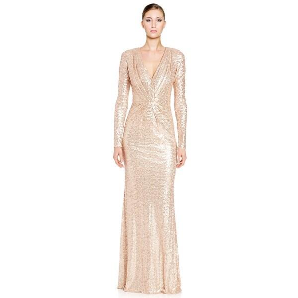 Badgley Mischka Sequined Long Sleeve V-Neck Evening Gown Dress
