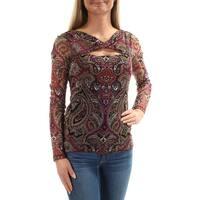 INC Womens Purple Damask Long Sleeve Keyhole Top  Size: S