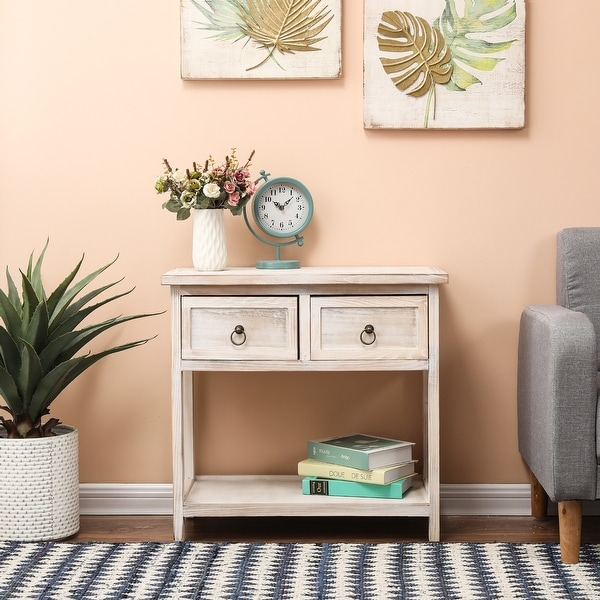 Pine Wood White-Washed Console Table. Opens flyout.