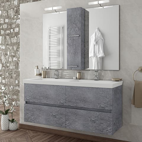"""48"""" Grey Double Floating Vanity with Integrated Porcelain Sinks"""